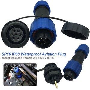 IP68 Водонепроницаемый соединитель SP16 Кабельный соединитель штепсельная вилка и гнездо 2 3 4 5 6 7 9 Pin резьбовое соединение