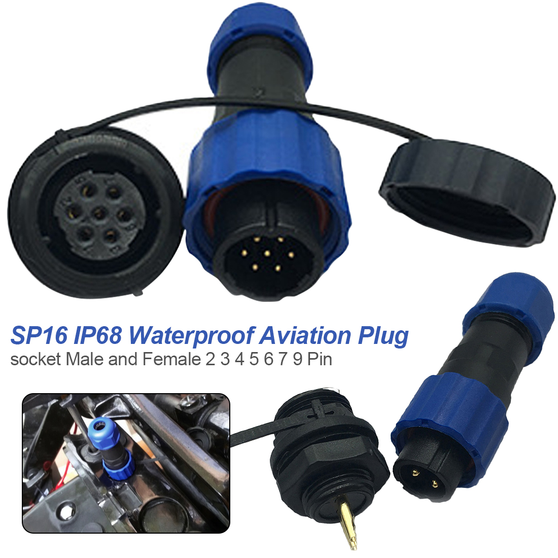 5 Pin Waterproof Female Plug Cable Connector IP68