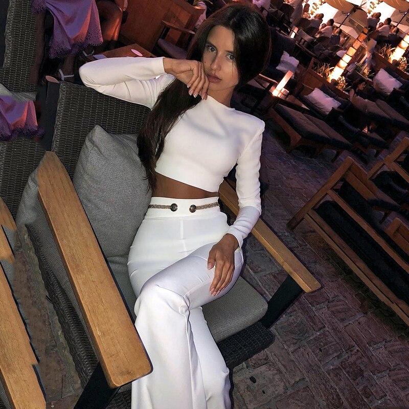 35b9b33954 INDRESSME 2019 de moda cuello Sexy Top corto pantalón largo trajes con botón  borla Formal de mujer