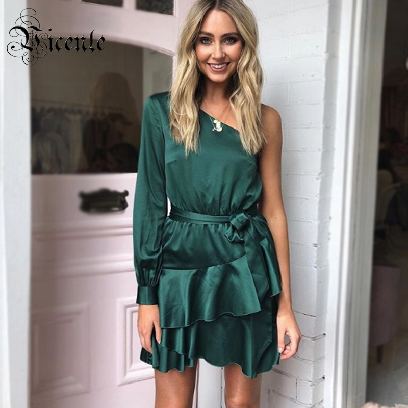 Vicente HOT Chic Dark Green Mini Dress Cascading Ruffles Sexy One Shoulder Long Sleeves With Belt Wholesale Party Satin Dress