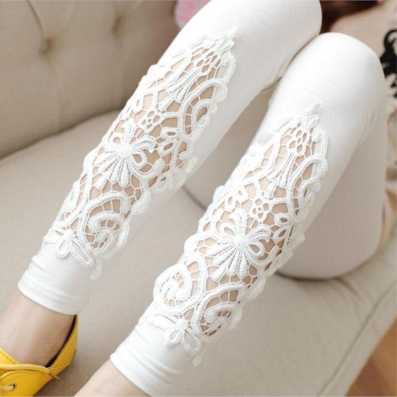 2020 Summer Thin Leggings Women Cotton Knitted Legging Hollow Out Lace Diamond Print Flower Leggins Section Mid Waist Pants K057