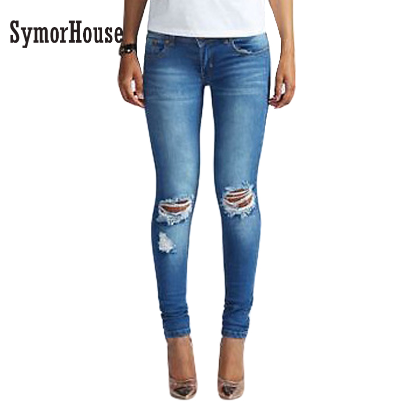 Women's new fashion new style jeans Full Length high waist Ripped jeans Skinny Hole Denim Pencil Pants Stretch Waist Women Jeans women sexy distressed hole denim jeans fashion cotton stretch full length jeans high waist skinny pencil pants