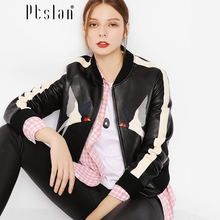 Ptslan Lamb Leather autumn new high Fashion street brand style Women real Leather Short Jacket Outerwear top quality