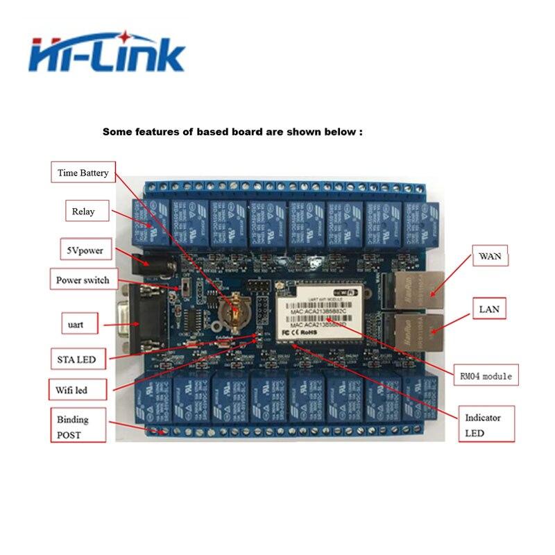Envío Gratis 16 canales interruptor de control de módulo de relé inteligente domótica WIFI relé de HLK-SW16