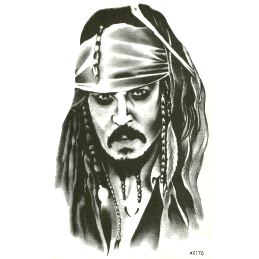 Captain Jack Sparrow Waterproof Temporary Tattoos Sticker Pirates Of The Caribbean Tattoo Body Art Fake Tattoo Sleeve Tatoo