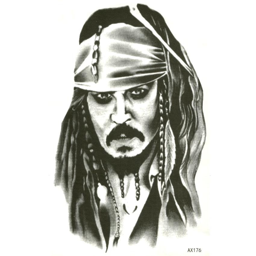 Captain Jack Sparrow Waterproof Temporary Tattoos Sticker Pirates Of The Caribbean Tattoo Body Art Fake Tattoo Sleeve Tatoo