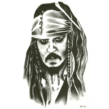 Pirates of the Caribbean Tattoo Sticker Captain Jack Sparrow Fake Sleeve Tattoos Waterproof Temporary