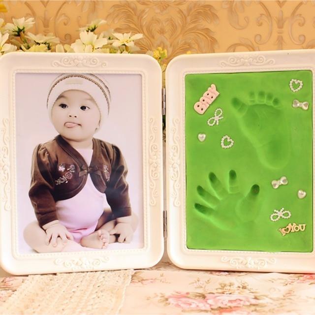 Foto Marcos lindo arcilla suave impresión DIY bebé huella de mano ...