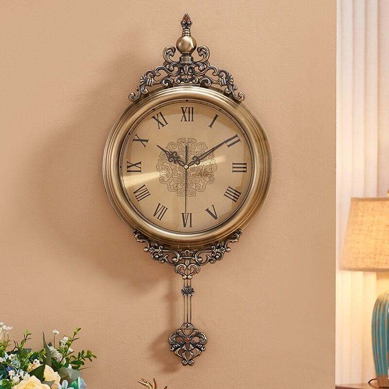 MDC 5316 Zinc Alloy Retro Wall Clock Elegant Antique Pendant Retro European Quartz Pendule Watch Wedding