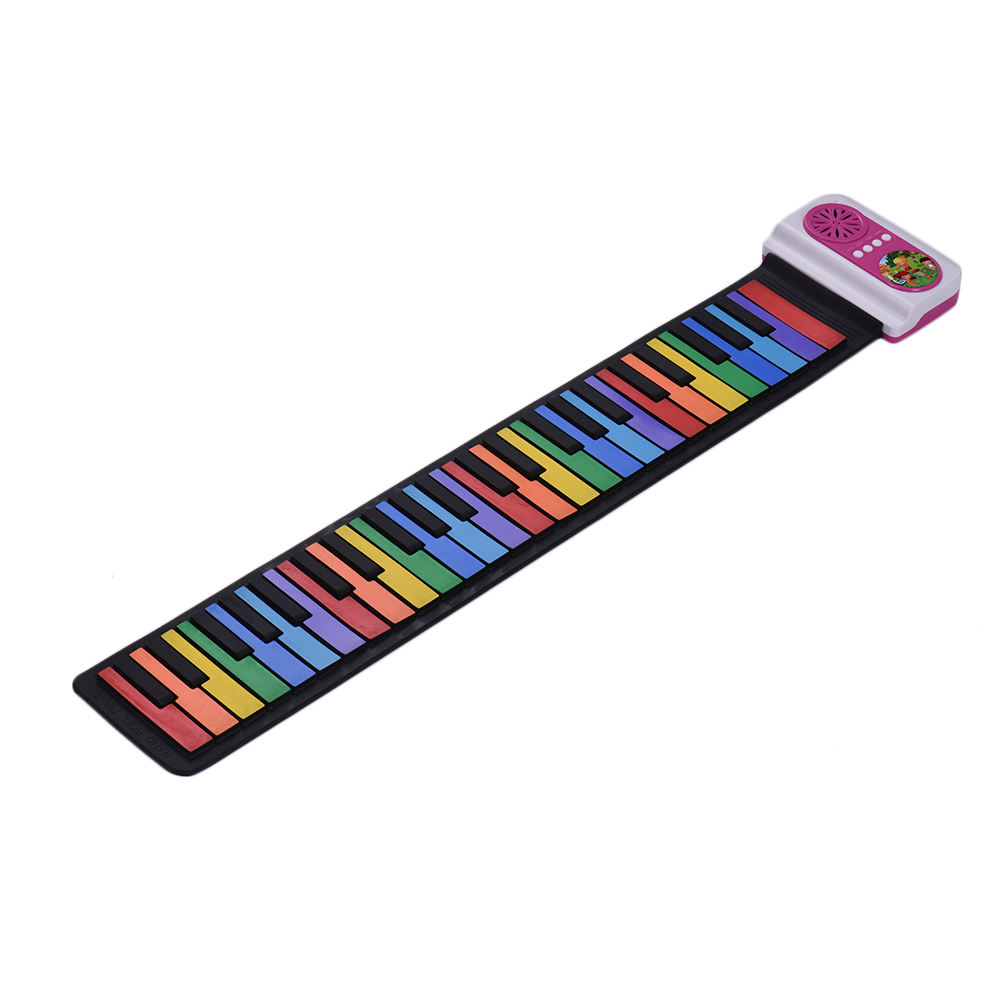 49-Key Portable Roll-Up Piano Silicon Electronic Keyboard Colorful Keys Built-in Speaker Musical Toy for Children Kids49-Key Portable Roll-Up Piano Silicon Electronic Keyboard Colorful Keys Built-in Speaker Musical Toy for Children Kids