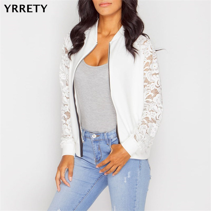 YRRETY Autumn Women Coat Lace Insert Bomber Zip Up Fashion Ladies   Jacket   Coat Long Sleeve O Neck   Basic   Coat White Female Coat