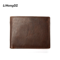 Vintage Crazy Horse Handmade Leather Men Wallets Fashion Cowhide Coin Purse Genuine Leather Wallet For Men