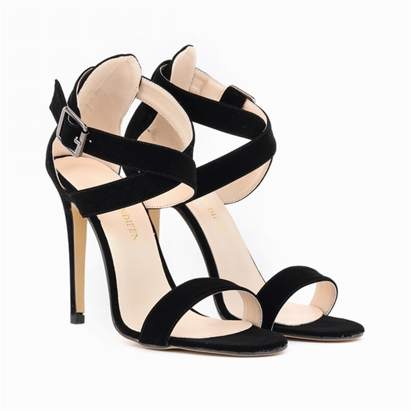 LOSLANDIFEN Cross-tied Women Sandals Open Toe Sexy Wedding Velvet High Heels Shoes Summer Buckle Casual Sandal Size 4-11 102-4VE elegant wedges open toe women sandals ankle buckle rivet shoe women cross tied women casual shoes rome hollowed out lady sandals