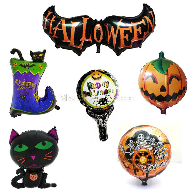 ▻1 unids carnaval Halloween murciélago gato varita de mano calabaza ...