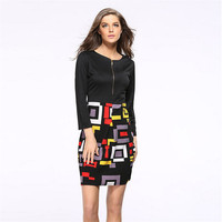 2019 New Autumn Dress Plus Size Clothing Women Dress Patchwork Tunic Work Office Party Fit Dress AU00628