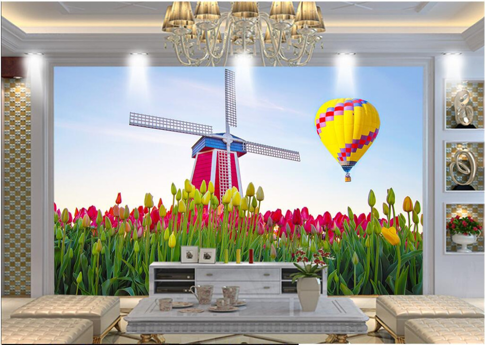 3d wallpaper custom mural non-woven 3d room wallpaper Windmill tulip flowers and balloons wall photo wallpaper for walls 3 d custom baby wallpaper snow white and the seven dwarfs bedroom for the children s room mural backdrop stereoscopic 3d