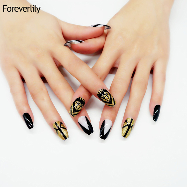 New 24Pcs Elegant Long Acrylic Coffin Nails Tips Solid Black ...