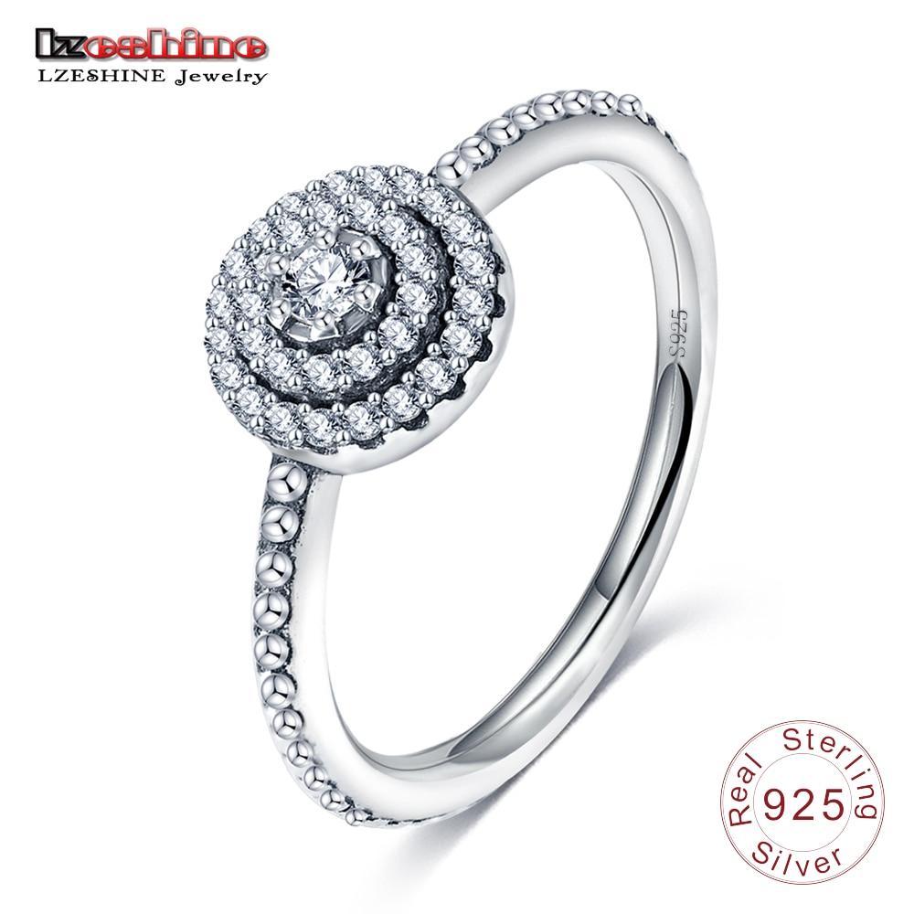 LZESHINE 100% Аутентичные Античная 925 стерлингов Серебряные кольца с AAA циркония Для женщин кольца AliExpress Лидер продаж PSRI06-B