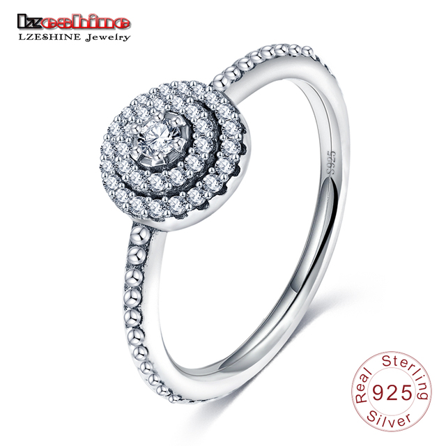 LZESHINE 100% Authentic Antique 925 Sterling Silver Rings With AAA Zirconia Rings For Women Aliexpress Hot Selling PSRI06-B