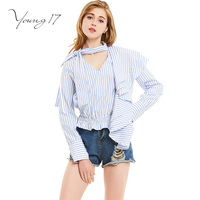 Young17 Shirts Women Spring Fall V Neck Female Ruffles Hem Casual Falbala Patchwork Blouses Striped Fashion