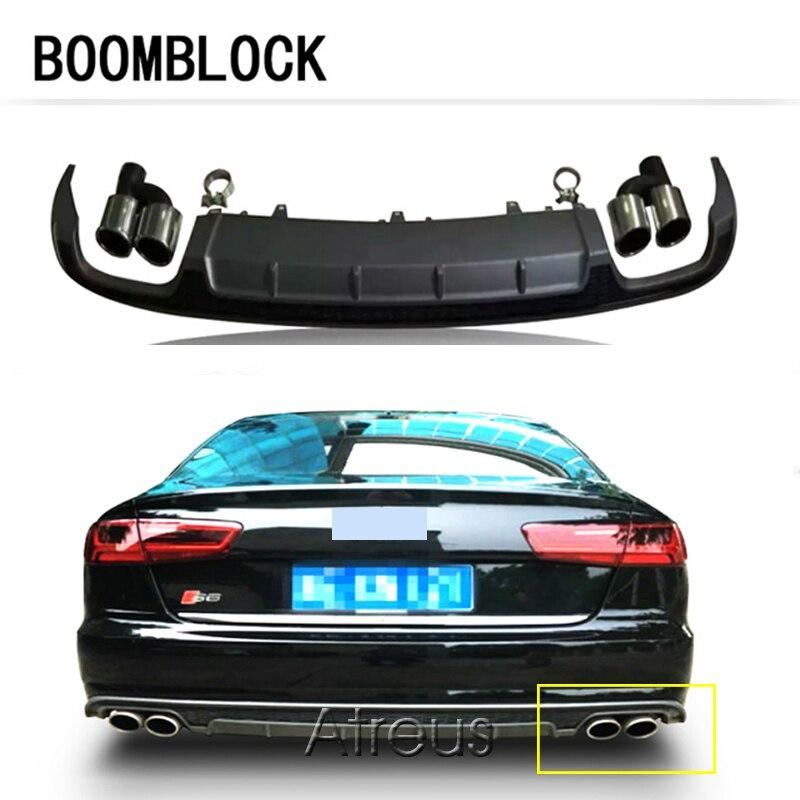 BOOMBLOCK Pour Audi A6 Sedan Base 4 Portes 2016 S6 Style Pare-chocs arrière Diffuseur Avec la Queue D'échappement PP Matériel Seulement S'ADAPTER A6 pare-chocs