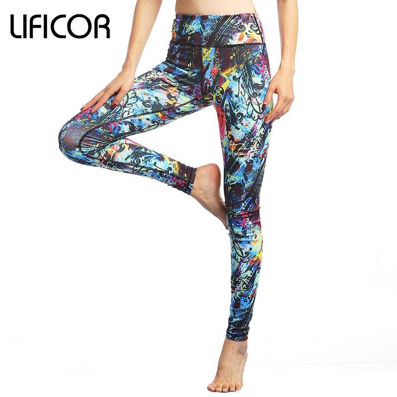Prix pour Femmes Yoga de Remise En Forme Leggings Sport Pantalon Capri D'entraînement Élastique Impression Pantalon de Course Pantalon Gym Sport