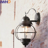 IWHD Glass LED Wall Light Vintage Industrial Lighting Wall Lamp Stairway Lighting Loft Retro Outdoor Lights Iron Arm Sconce