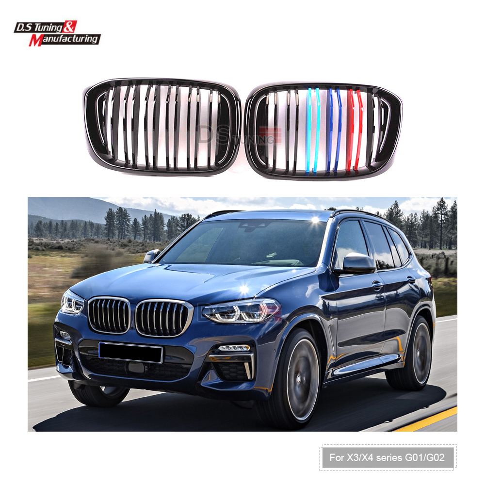 Kidney Grille For <font><b>BMW</b></font> <font><b>X3</b></font> X4 Series <font><b>G01</b></font> G02 Doule Line Racing <font><b>Grills</b></font> 2018-IN image