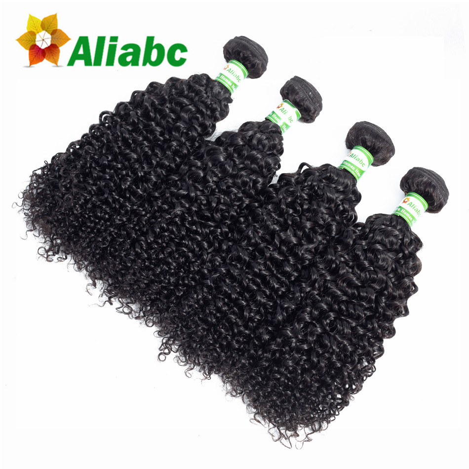 Aliabc Malaysia Kinky Curly Hair Weave 4 Bundles 100 Human Hair Extentions 8 26 Inch Natural