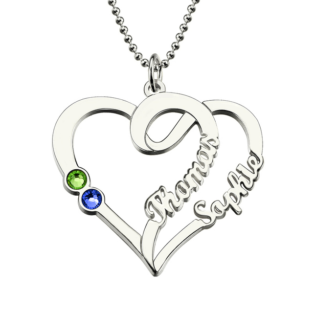 Heart necklace with birthstone sterling silver personalized name heart necklace with birthstone sterling silver personalized name necklace love heart pendant for couples aloadofball Gallery