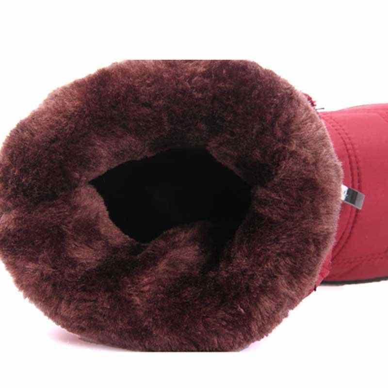 Botas impermeables de Invierno para Mujer, Botas a media pantorrilla, calzado aislante para nieve, Botas de piel para Mujer, plantilla de felpa, Botas negras para Mujer, Invierno