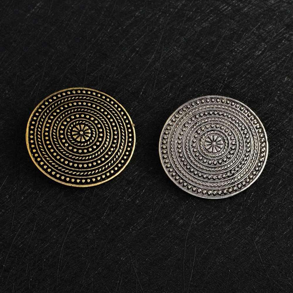 Viking Bros Norse Bahu Bros Vintage Perak Perunggu Apron Pin Gesper Jaket Gaun Mantel Kerah Pin Lencana Pria Perhiasan