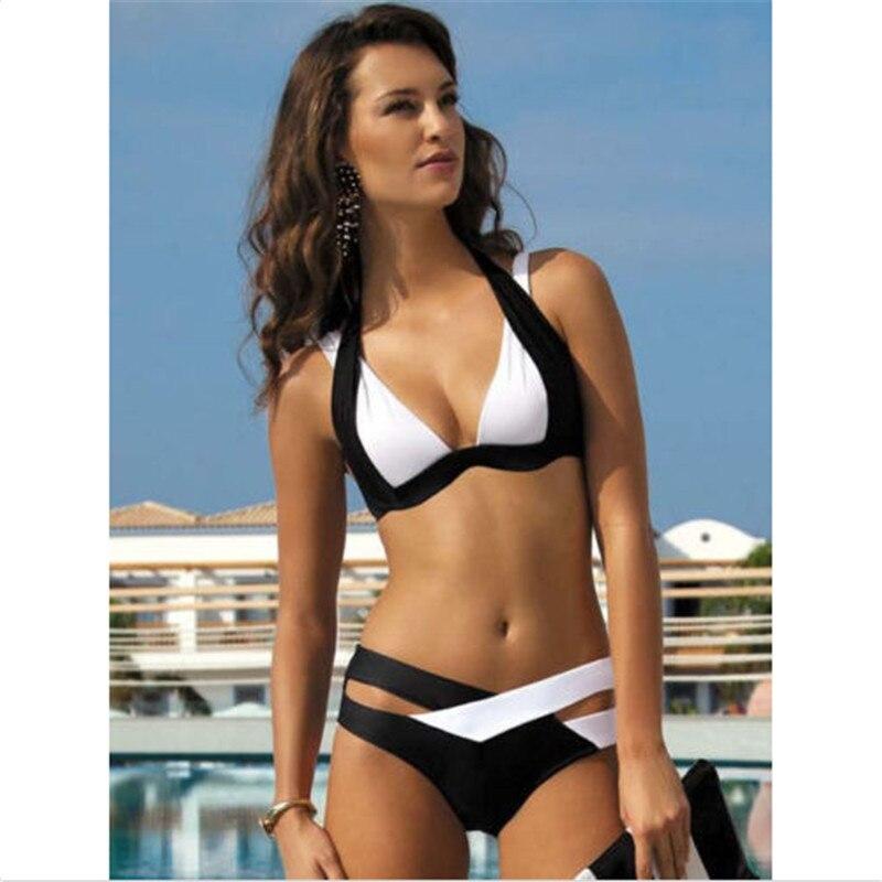 GLANE Sexy Lady Mid Waist Bandage Bikini Set Halter Swimsuit Bathing Suit black and white Swimwear рюкзак case logic 17 3 prevailer black prev217blk mid