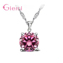 GIEMI 2018 New Brand Design Women Classic Necklaces & Pendants Fashion S90 Silver Color Jewelry for Wedding Shiny Zircon Gift(China)