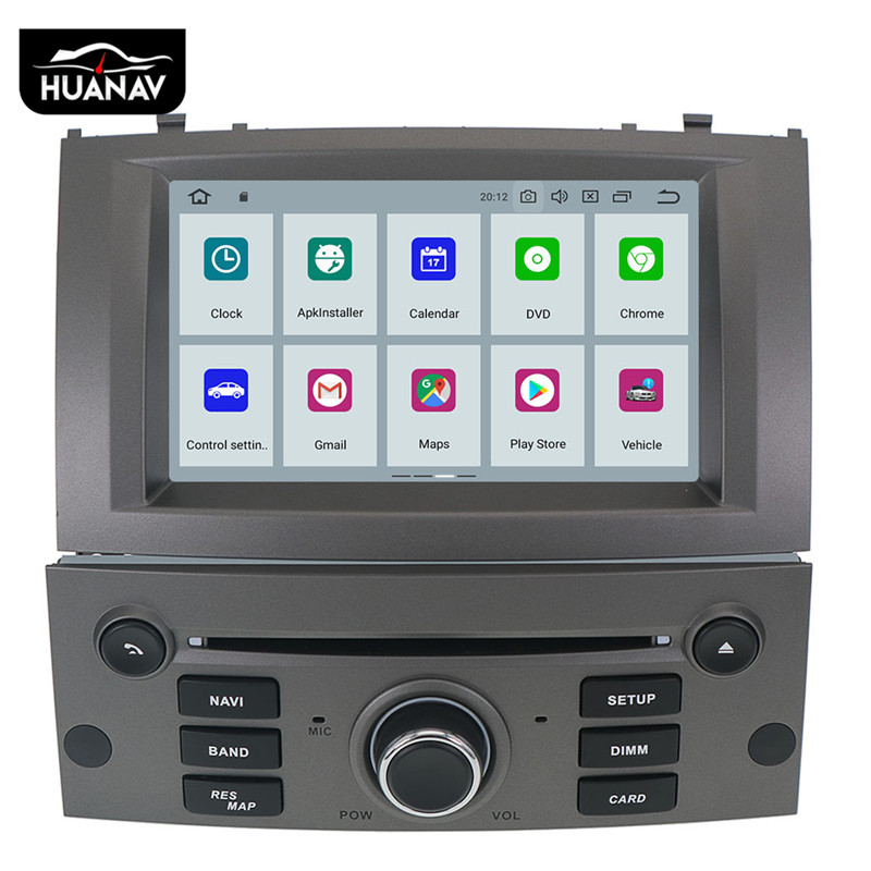 Android 9.0 Car DVD Player Multimedia Stereo For Peugeot 407 2004 2005 2006 2007 2008 2009 2010 Auto stereo radio GPS Navigation image