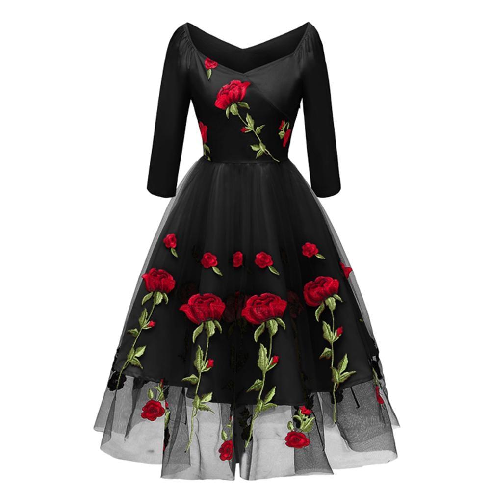 a68d5d94cd5 2018 Women 50S Retro Hepburn Style Party Dress Floral Rose Vintage  Embroidery Mesh Lace Dress Elagant