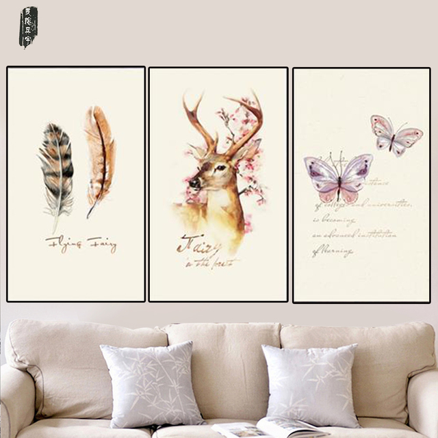 Butterfly Canvas Painting Deer Wall Art Abstract Feather Picture Modern  Home Decoration Posters And Prints Nordic