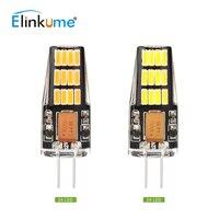 Elinkume 10PCS Super Bright G4 LED Bulb 2 5W SMD4014 24LEDs AC DC12V Dimmable Spotlight Chandelier