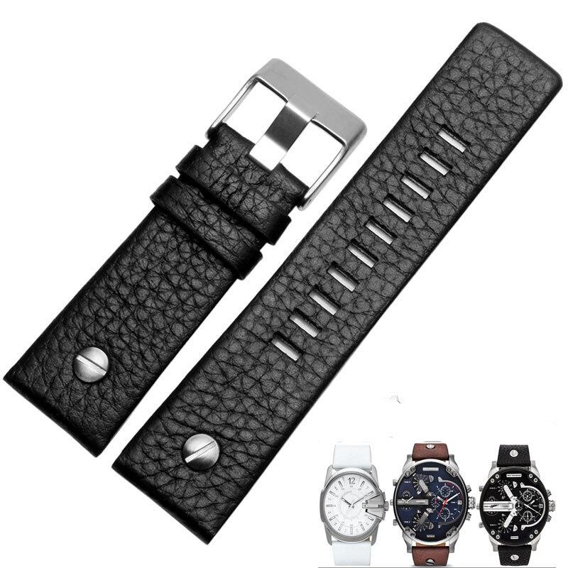 TJP High Quality Genuine leather 22mm 24mm 26mm 28mm 30mm Black Brown White Watchband Watch Strap For DieselDZ7312 DZ7314
