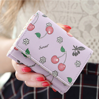 New Arrival Students Wallet Zipper Lady Cartoon Lovely Fruit Chrry Purse Short Style Closure Fashion Money Bag More Card Slots F
