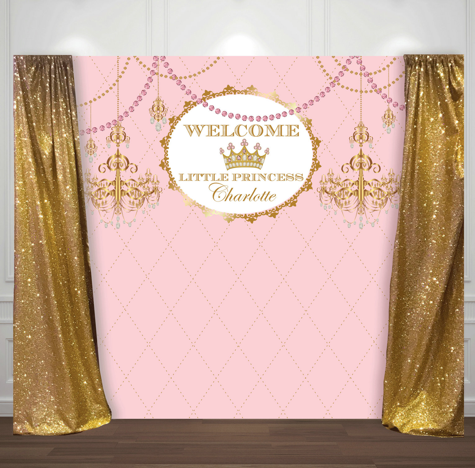 custom pink and gold princess crown baby shower 1st