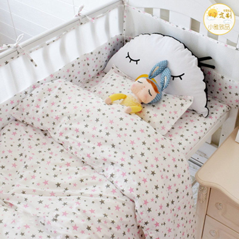 7pcs Cotton Girl Boy Crib Bed Linen Kit Cartoon Newborn Baby Crib Bedding Set Includes Bumpers Duvet Cover Pillowcase Flat Sheet 3 pcs set 100% cotton baby bedding set bed sheet duvet cover pillowcase fish tree pink white blue boy and girl cute beding