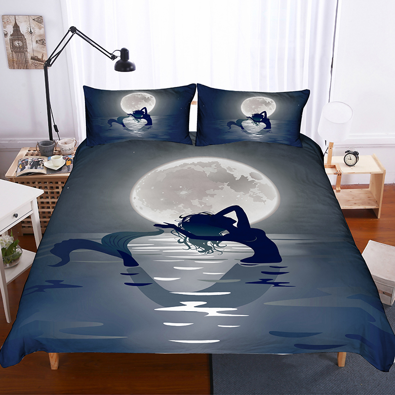 3D Printing Bedding Set Catoon Beautiful Mermaid and Moon Duvet Cover Set with Pillowcase Underwater World Bed Linens Bedclothes in Bedding Sets from Home Garden