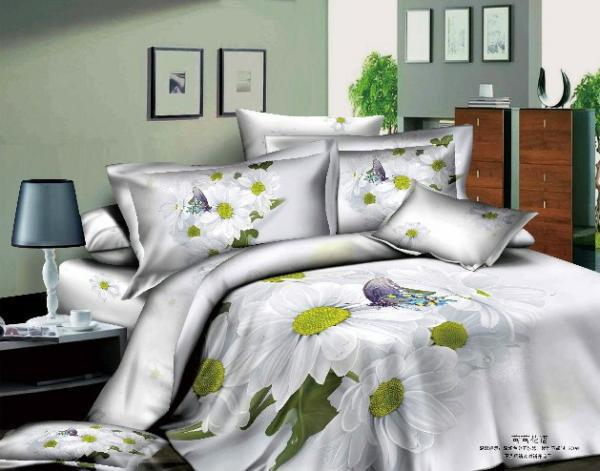 3d White Daisy Bedding Set Flower Floral Queen Size Purple