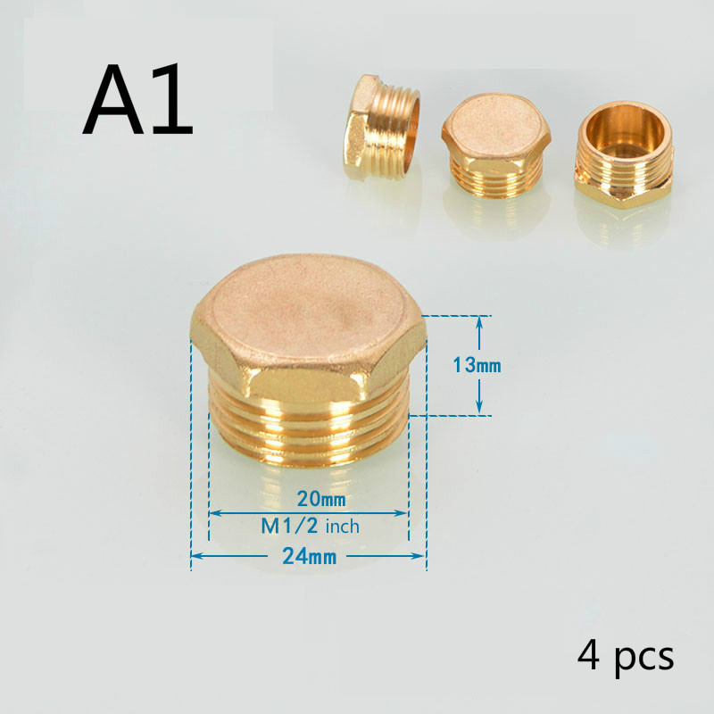 Copper 1/2 inch 3/4 inch 1 inch Female&Male Thread Brass Pipe Hex Head Brass End Cap Plug Fitting Coupler Connector Adapter