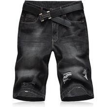 Oversized 2018 New Summer Fashion Mens Jeans Knee Length Stretch Denim Plus Size Jeans Short Pants
