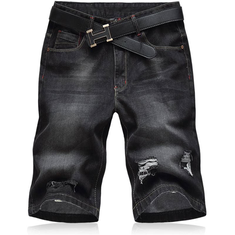 Oversized 2018 New Summer Fashion Mens Jeans Knee Length Stretch Denim Plus Size Jeans Short Pants Trouser Black 32- 46 48 #6703
