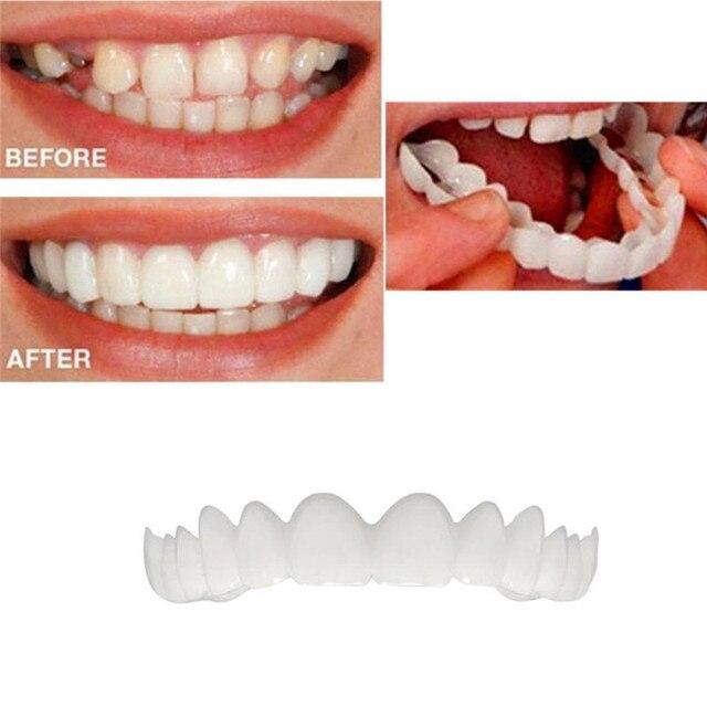 2 piezas comodidad ajuste flexible cosméticos dientes dentadura dientes superior cosmética chapa conserva sonrisa dientes superior cosmética chapa