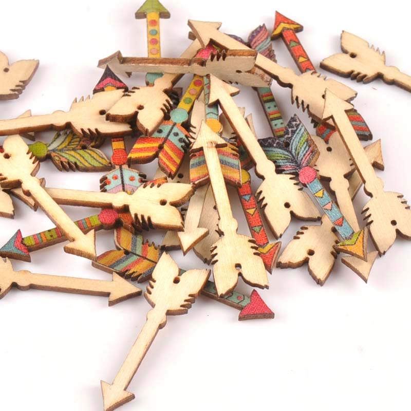 25Pcs Mixed Arrows Shape Wooden Crafts Scrapbook DIY For Wood Slices Ornaments Home Decoration Accessories Arts 34x12mm M1815