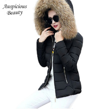 2017 Women Short Winter Down Parkas Big Fur Collar Down Jacket Ladies hooded Overcoats Female Warm Zipper Coats in Winter SHZ12